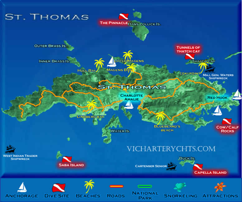 VirginIslandsStThomasMap St Thomas Scuba Diving